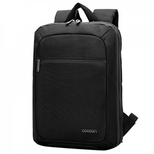 """Cocoon Leather Slim Backpack Up To 15.6"""" Laptop Black Cowhide Leather"""