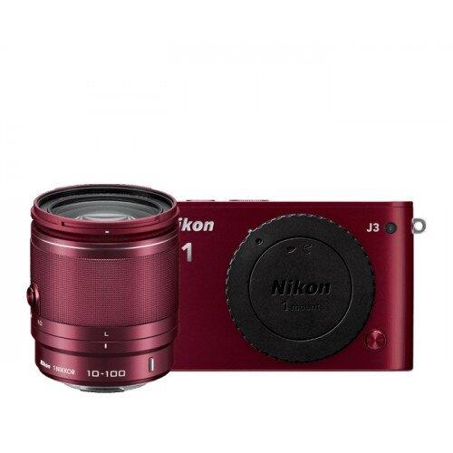 Nikon 1 J3 Camera - Red - All-In-One Lens Kit
