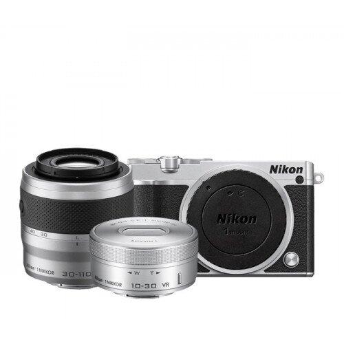 Nikon 1 J5 Camera - Silver - Two-Lens Zoom Kit