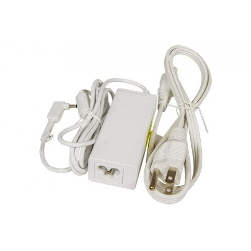 Acer 45W Adapter With Power Cord (White, Small Pin)