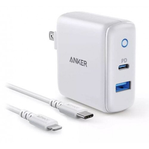 Anker PowerPort Classic 30W 2 port PD wall bundle with PowerLine Select 3ft C-L cable