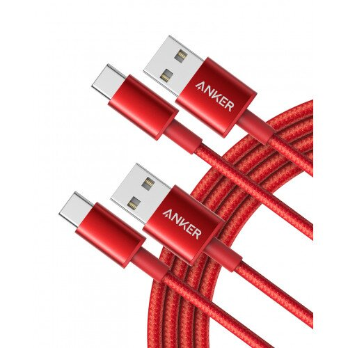 Anker Premium Double-Braided Nylon USB-C to USB-A Cable - Red