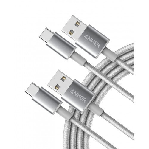 Anker Premium Double-Braided Nylon USB-C to USB-A Cable - Silver