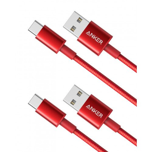 Anker Premium Double-Braided Nylon USB-C to USB-A Cable 2-Pack 3ft - Red