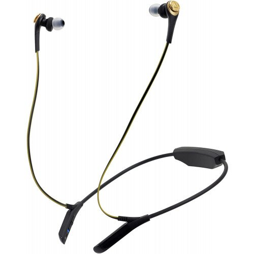 Audio-Technica ATH-CKS550BT Solid Bass Wireless In-Ear Headphones with Mic & Control - Black / Gold