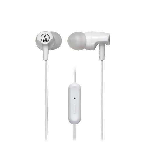 Audio-Technica ATH-CLR100iS SonicFuel In-Ear Headphones with In-line Mic & Control - White