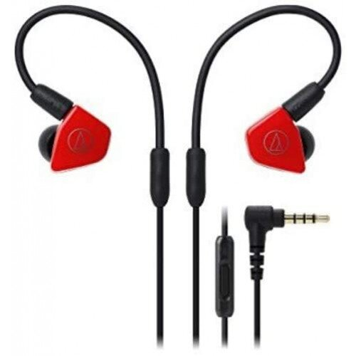 Audio-Technica ATH-LS50iS In-Ear Headphones with In-line Mic & Control - Red