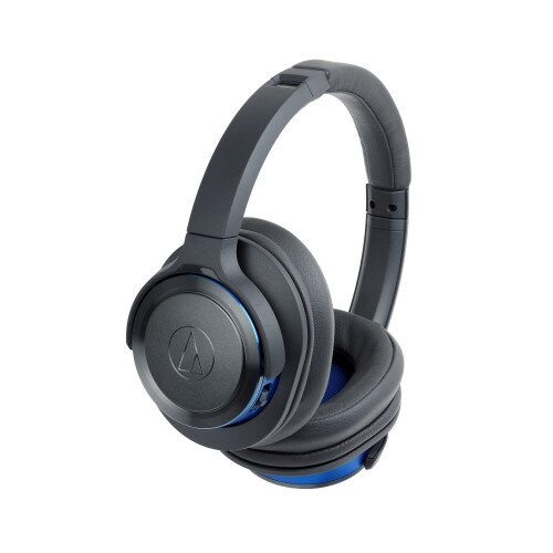 Audio-Technica ATH-WS660BT Solid Bass Wireless Over-Ear Headphones with Built-in Mic & Control - Gunmetal/Blue