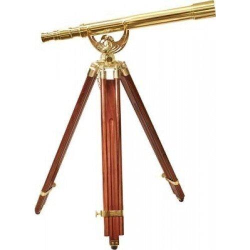 Barska 18x 50mm Anchormaster Classic Brass Telescope w/ Mahogany Tripod