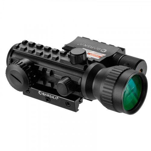 Barska 2x30mm Multi-Rail Tactical Red Dot Sight GLX Green Laser Combo