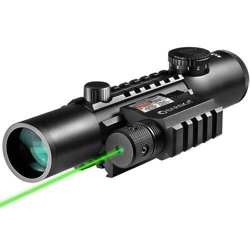 Barska 4x28mm IR Electro Sight Multi-Rail Tactical Rifle Scope GLX Green Laser Combo