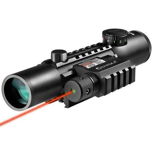 Barska 4x28mm IR Electro Sight Multi-Rail Tactical Rifle Scope GLX Green Laser Combo - Red
