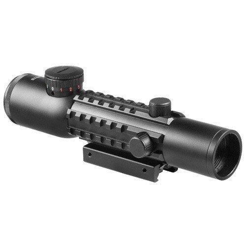 Barska 4x28mm IR Electro Sight Multi-Rail Tactical Rifle Scope Red Laser Combo