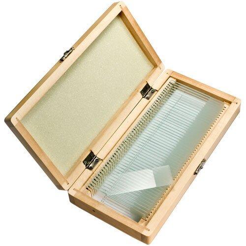 Barska 50 Blank Microscope Slides w/ Wooden Case