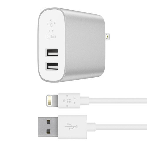 Belkin Boost Charge 24W Dual USB-A Wall Charger + Lightning to USB-A Cable