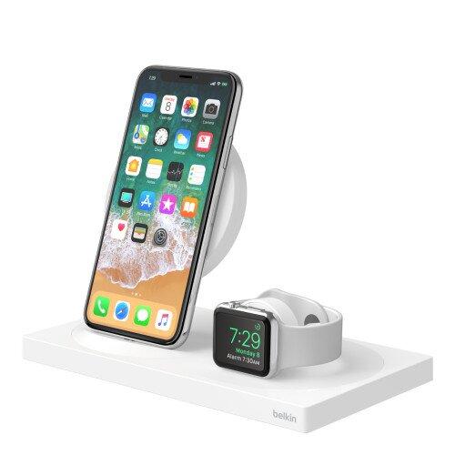 Belkin BOOST UP Wireless Charging Dock: Wireless Charging Pad + Apple Watch Dock - White