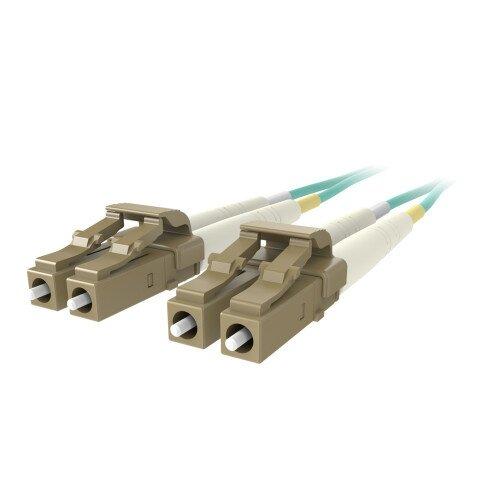 Belkin Fiber Optic Cable 10GB/100GB Aqua Multimode LC/LC Duplex 50/125 OM4 - 10.0 - Meters