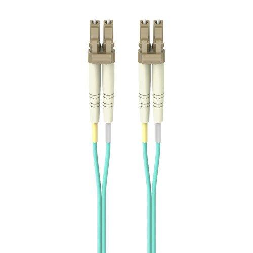 Belkin Fiber Optic Cable 10GB/100GB Aqua Multimode LC/LC Duplex 50/125 OM4 - 3.0 - Meters - 2