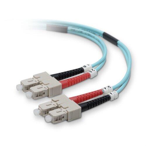 Belkin Fiber Patch Cable 10 Gig Aqua 50/125 SC/SC - 5.0 - Meters