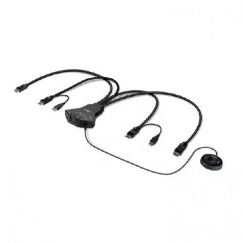 Belkin Secure 2-Port Flip DP-to-DP Dual Head KVM with Digital Audio PP 3.0