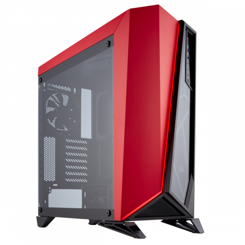 Corsair Carbide Series Spec-Omega Tempered Glass Mid-Tower ATX Gaming Computer Case - Black/Red
