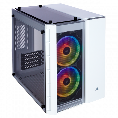 Corsair Crystal Series 280X RGB Tempered Glass Micro ATX Computer Case - White