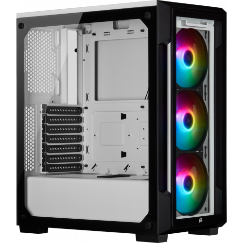 Corsair iCUE 220T RGB Tempered Glass Mid-Tower Smart Computer Case - White