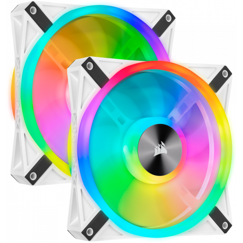 Corsair iCUE QL120 RGB PWM Case Fan - White - Twin Pack with Lighting Node CORE - 140mm x 25mm