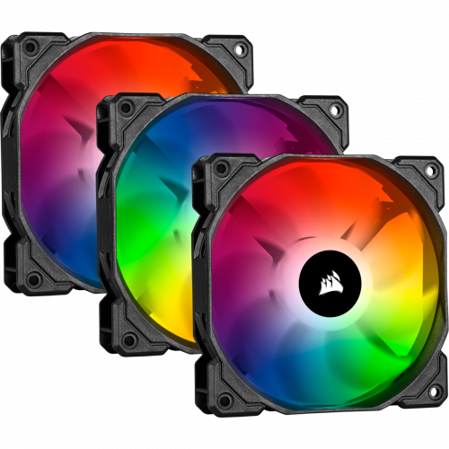 Corsair iCUE SP120 RGB PRO Performance Case Fan - Triple Pack with Lighting Node CORE - 120mm x 25mm