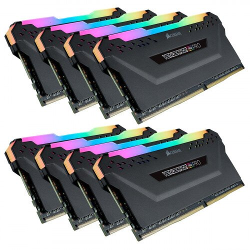 Corsair VENGEANCE RGB PRO DDR4 DRAM Memory Kit - Black - 128GB Kit (8 x 16GB) - 3200MHz C16