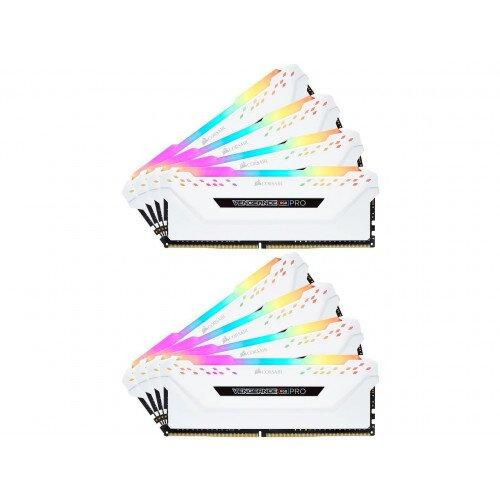 Corsair VENGEANCE RGB PRO DDR4 DRAM Memory Kit - White - 128GB Kit (8 x 16GB) - 3200MHz CL16