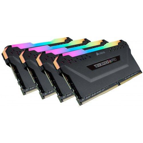 Corsair VENGEANCE RGB PRO DDR4 DRAM Memory Kit - Black - 32GB Kit (4 X 8GB) - 4400MHz C18