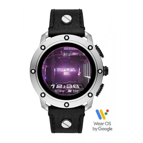 Diesel On Axial Smartwatch - Black Leather/Silver