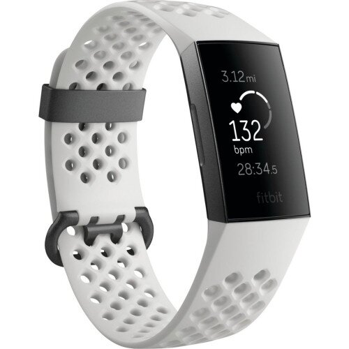 Fitbit Charge 3 Advanced Fitness Tracker - Special Edition - Frost White Sport / Graphite Aluminum