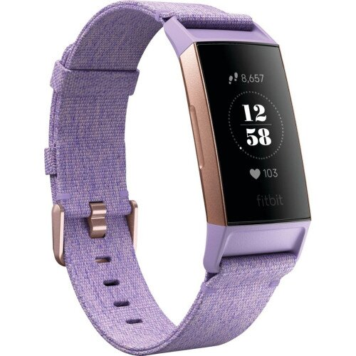 Fitbit Charge 3 Advanced Fitness Tracker - Special Edition - Lavender Woven / Rose Gold Aluminum