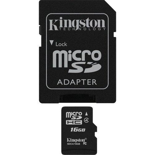 Kingston MicroSDHC Card - Class 4 with MicroSD Adapter - 16GB