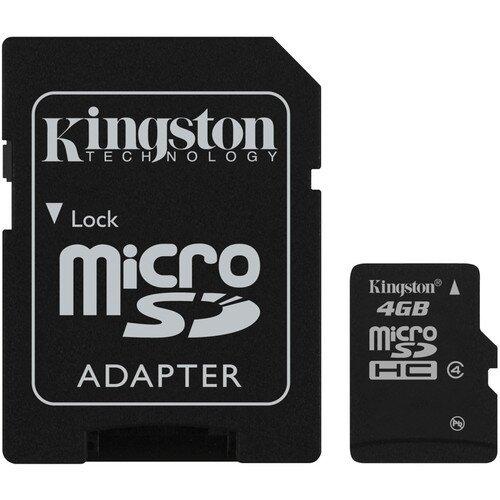 Kingston MicroSDHC Card - Class 4 with MicroSD Adapter - 4GB