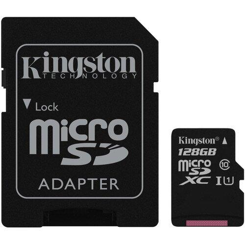 Kingston MicroSDHC/MicroSDXC Class 10 UHS-I Card with SD Adapter - 128GB