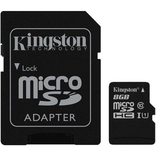 Kingston MicroSDHC/MicroSDXC Class 10 UHS-I Card with SD Adapter - 8GB