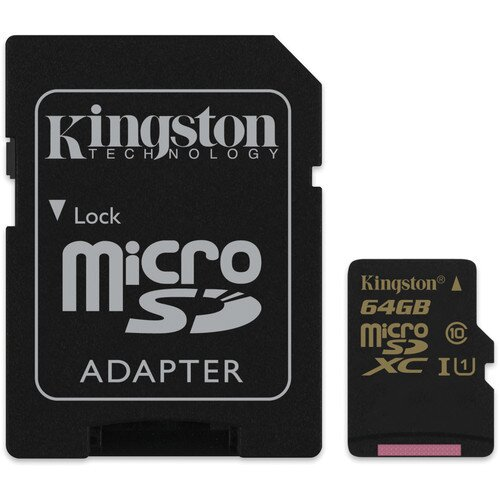 Kingston MicroSDHC/SDXC Card - Class 10 UHS-I with SD Adapter - 64GB