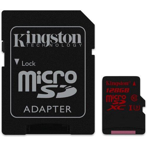 Kingston MicroSDHC/SDXC UHS-I U3 90R/80W with SD Adapter - 128GB