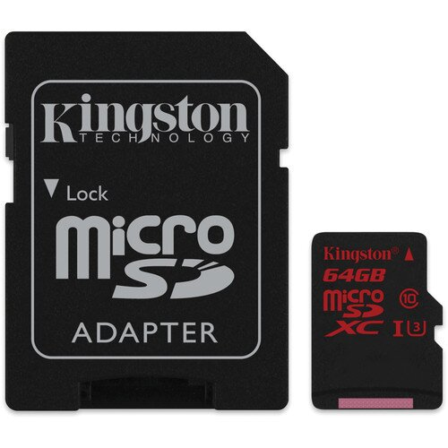 Kingston MicroSDHC/SDXC UHS-I U3 90R/80W with SD Adapter - 64GB