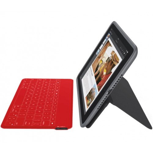 Logitech Duo-To-Go All-in-One, Case + Wireless Keyboard for iPad Air 2 - Black / Red