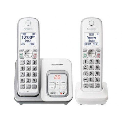 Panasonic Expandable Cordless Phone with Call Block and Answering Machine - 2 Handset - White
