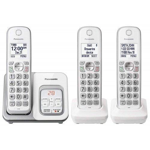 Panasonic Expandable Cordless Phone with Call Block and Answering Machine - 3 Handset - White