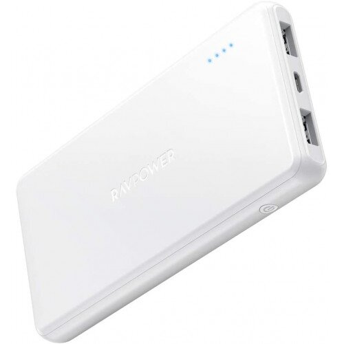 RAVPower 10000mAh Portable Charger 2-Port Power Bank - White