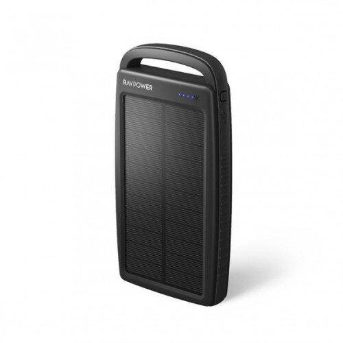 RAVPower Prime 20000mAh Portable Charger 2-Port Solar Power Bank - Black
