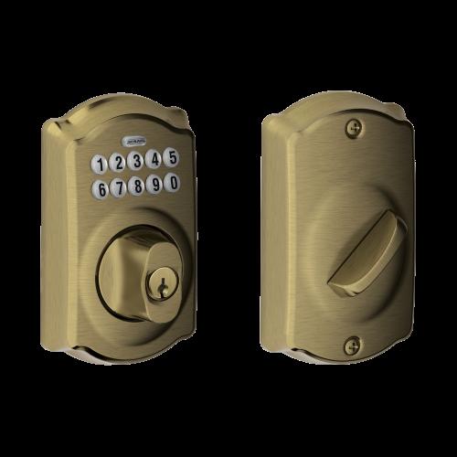 Schlage Camelot Trim Keypad Deadbolt - Antique Brass
