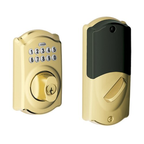 Schlage Camelot Trim Connected Keypad Deadbolt - Bright Brass