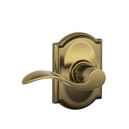 Schlage Accent Lever with Camelot Trim Hall & Closet Lock - Antique Brass